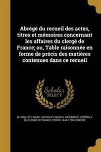 FRE-ABREGE DU RECUEIL DES ACTE