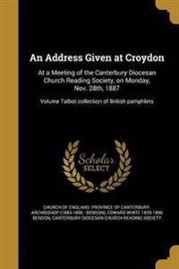ADDRESS GIVEN AT CROYDON