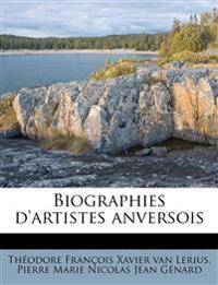 Biographies d'artistes anversois Volume 01