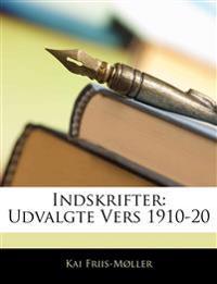 Indskrifter: Udvalgte Vers 1910-20