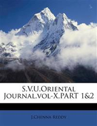 S.V.U.Oriental Journal.vol-X,PART 1&2