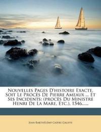 Nouvelles Pages D'histoire Exacte, Soit Le Procès De Pierre Ameaux ... Et Ses Incidents: (procès Du Ministre Henri De La Mare, Etc.), 1546......