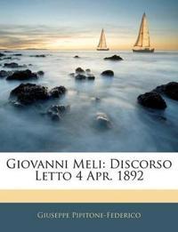 Giovanni Meli: Discorso Letto 4 Apr. 1892