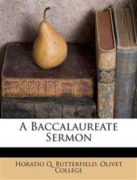 A Baccalaureate Sermon