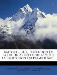 Rapport ... Sur L'exécution De La Loi Du 23 Décembre 1874 Sur La Protection Du Premier Âge...