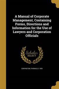 MANUAL OF CORPORATE MGMT CONTA