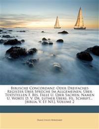 Biblische Concordanz: Oder Dreifaches Register Über Sprüche Im Allgemeinen, Über Textstellen F. Bes. Fälle U. Über Sachen, Namen U. Worte D. V. Dr. Lu