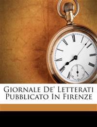 Giornale De' Letterati Pubblicato In Firenze