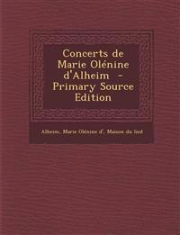Concerts de Marie Olénine d'Alheim