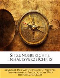Sitzungsberichte. Inhaltsverzeichnis