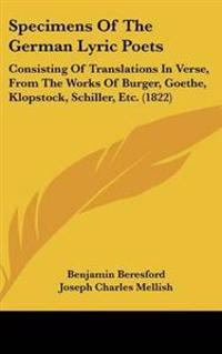 Specimens of the German Lyric Poets