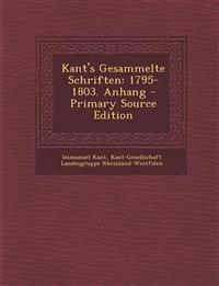 Kant's Gesammelte Schriften: 1795-1803. Anhang