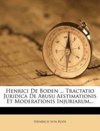 Henrici De Boden ... Tractatio Juridica De Abusu Aestimationis Et Moderationis Injuriarum...