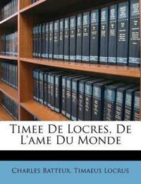 Timee De Locres, De L'ame Du Monde