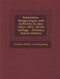 Schlachten, Belagerungen Und Gefechte in Dem Jahre 1813, Dritte Auflage - Primary Source Edition