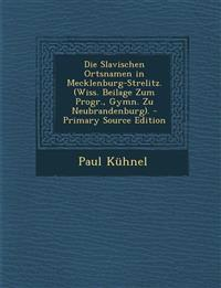 Die Slavischen Ortsnamen in Mecklenburg-Strelitz. (Wiss. Beilage Zum Progr., Gymn. Zu Neubrandenburg). - Primary Source Edition