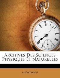 Archives Des Sciences Physiques Et Naturelles