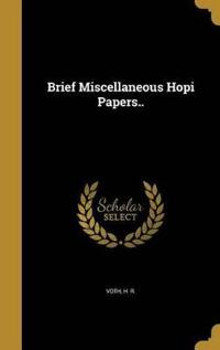 BRIEF MISC HOPI PAPERS