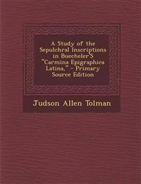 "A Study of the Sepulchral Inscriptions in Buecheler'S ""Carmina Epigraphica Latina,"" - Primary Source Edition"