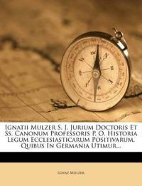 Ignatii Mulzer S. J. Jurium Doctoris Et Ss. Canonum Professoris P. O. Historia Legum Ecclesiasticarum Positivarum, Quibus In Germania Utimur...