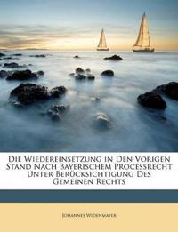 Die Wiedereinsetzung in Den Vorigen Stand Nach Bayerischem Processrecht Unter Berücksichtigung Des Gemeinen Rechts