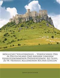 Möglichst vollständiges, alphabetischen Verzeichniss der in Deutschland und andern Ländern herausgekommenen Dissertationen. Erster Band
