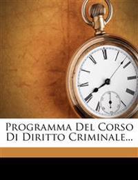 Programma Del Corso Di Diritto Criminale...