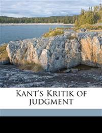 Kant's Kritik of judgment