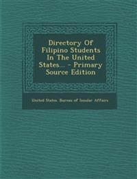 Directory Of Filipino Students In The United States...