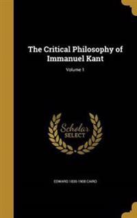 CRITICAL PHILOSOPHY OF IMMANUE