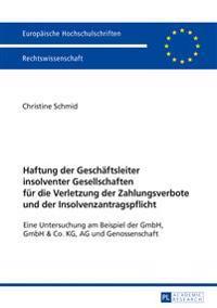 Haftung Der Geschaeftsleiter Insolventer Gesellschaften Fuer Die Verletzung Der Zahlungsverbote Und Der Insolvenzantragspflicht: Eine Untersuchung Am