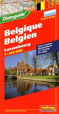 Belgien Luxemburg Hallwag karta : 1:250000