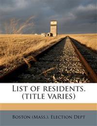List of residents. (title varies) Volume 13