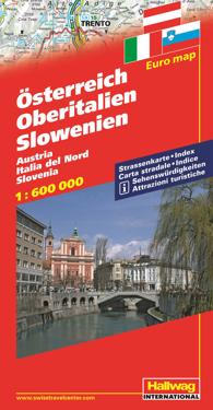 Karta Nord Italien.Osterrike Norra Italien Slovenien Hallwag Karta 1 600000