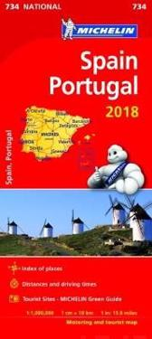 Spanien Portugal 2018 Michelin 734 Karta