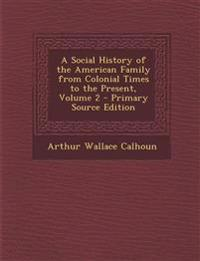 A Social History of the American Family from Colonial Times to the Present, Volume 2