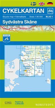 Cykelkartan Blad 1 Sydvästra Skåne : 1:90000