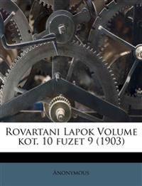 Rovartani Lapok Volume kot. 10 fuzet 9 (1903)