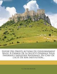 Exposé Des Droits Actions Du Gouvernement Belge, À Charge De La Société Générale Pour Favoriser L'industrie Nationale, Du Chef De L'acte De Son Instit
