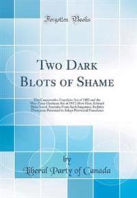 Two Dark Blots of Shame: The Conservative Franchise Act of 1885 and the War-Time Elections Act of 1917; How Hon. Edward Blake Saved Australia f