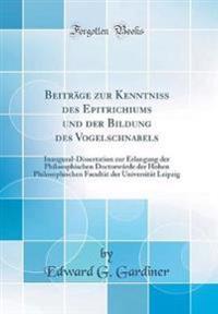 Beitrage Zur Kenntniss Des Epitrichiums Und Der Bildung Des Vogelschnabels
