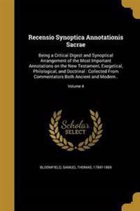 RECENSIO SYNOPTICA ANNOTATIONI