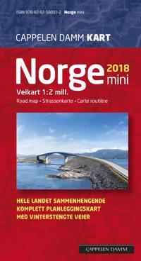 Norge mini 2018; veikart = road map = Strassenkarte = carte routière