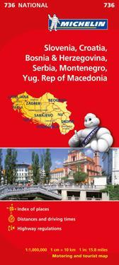 Slovenien Kroatien Bos-Herz Michelin 736 karta : 1:1milj