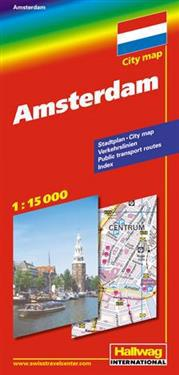Amsterdam Hallwag stadskarta : 1:15000