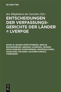 Entscheidungen Der Verfassungsgerichte Der Länder Lverfge / Decisions of the German State Constitutional Courts Lverfge