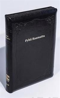 Raamattu (johdannoin, iso koko, iso teksti, musta, vk R44, nahkakansi)