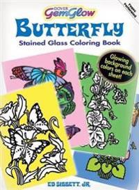 Butterfly Gemglow Stained Glass Coloring Book