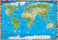 Världskarta för barn väggkarta i tub
