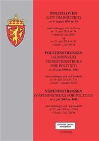 Politiloven ; Politiinstruksen : (alminnelig tjenesteinstruks for politiet) av 22. juni 1990 nr. 3963 : med endringer, sist ved forskrift av 19. juni 2015 nr. 673 (i kraft 1. oktober 2015) ; Våpeninstruksen : (våpeninstruks for politiet) av 2. juli 2015 nr. 1088 : med endringer, sist ved forskrift av 27. juni nr. 1088